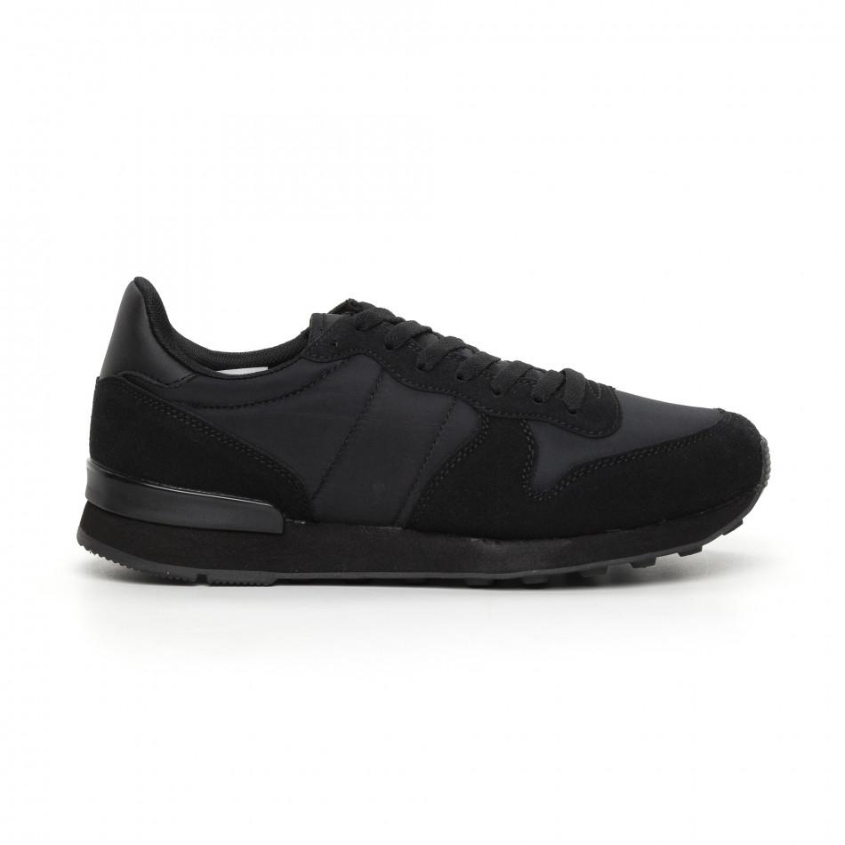 Ανδρικά μαύρα αθλητικά παπούτσια ελαφρύ μοντέλο  it130819-13
