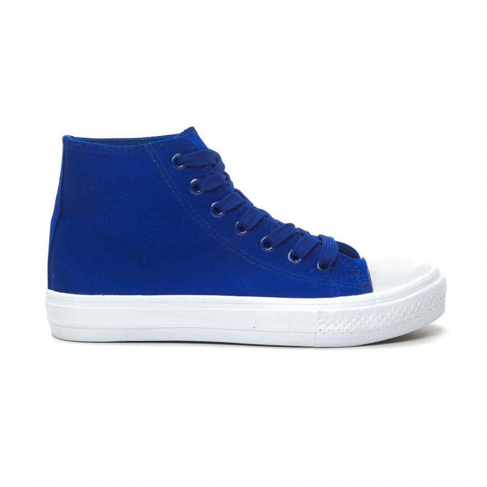 Γυναικεία Basic μπλε ψηλά sneakers  it150319-34