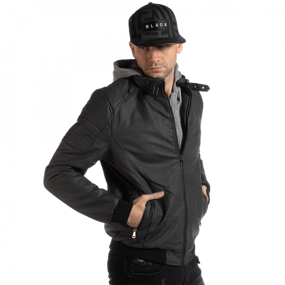 Ανδρικό μαύρο μπουφάν από συνθετικό δέρμα   it261018-121