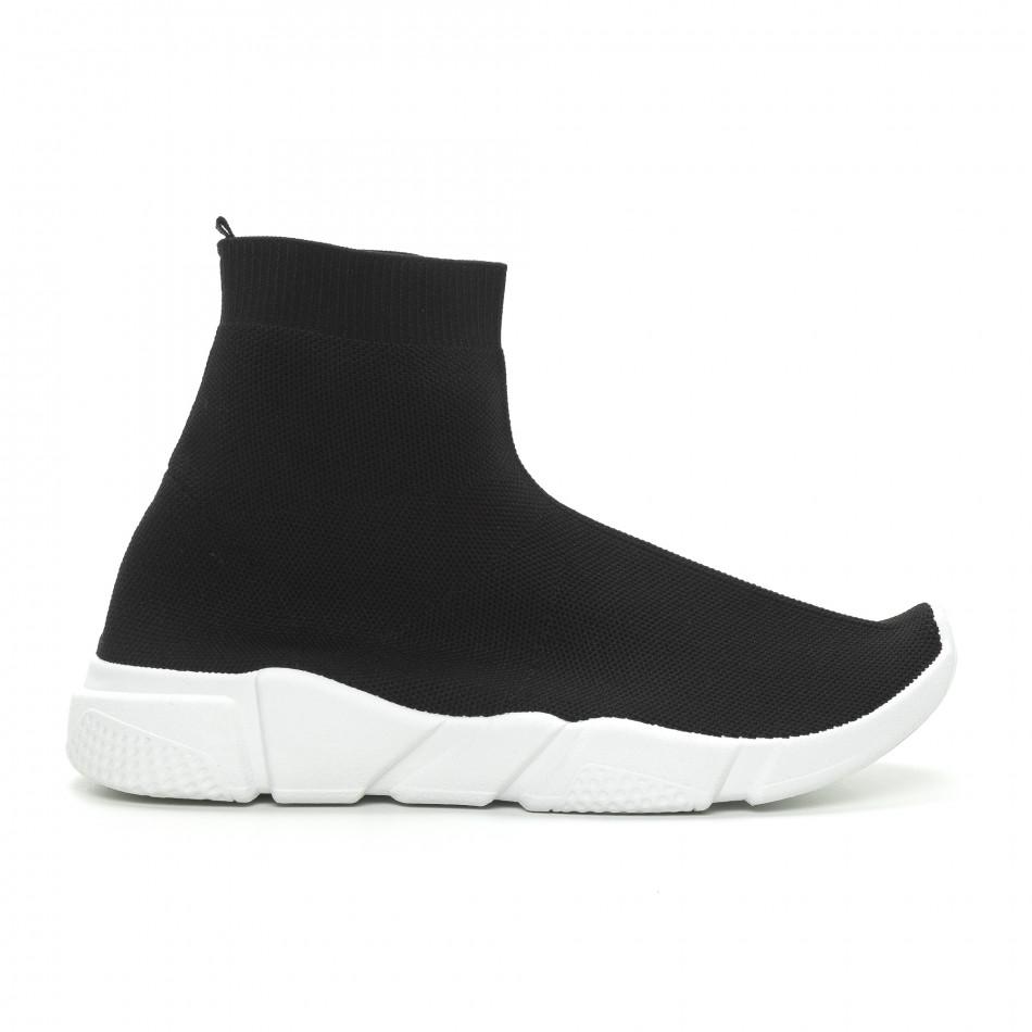Ανδρικά μαύρα αθλητικά παπούτσια Slip-on  it150319-13