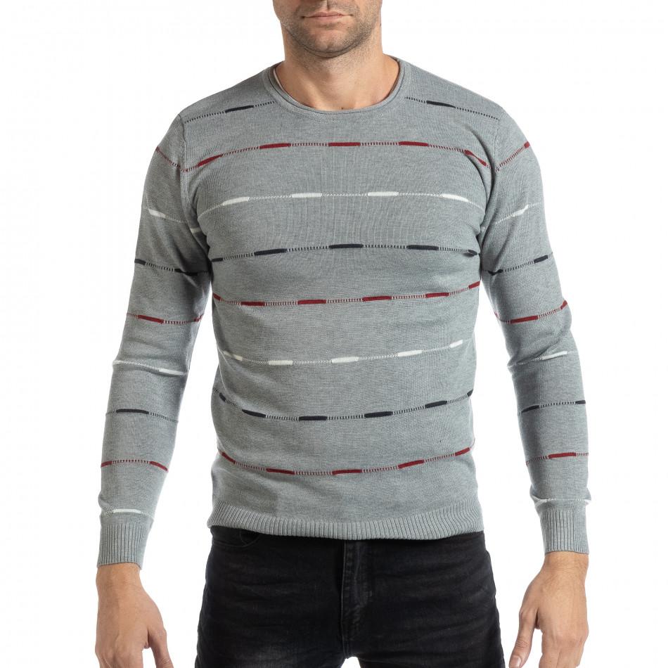 Ανδρικό γκρι πουλόβερ με πολύχρωμο ριγέ it261018-96