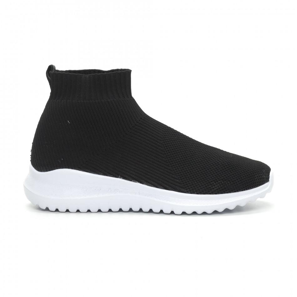 Ανδρικά μαύρα sneakers κάλτσα με τρακτερωτή σόλα it150319-8