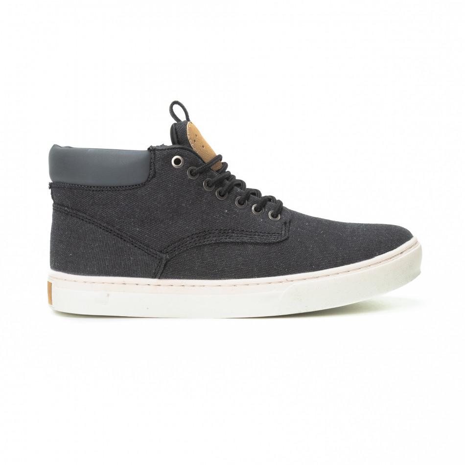 Ανδρικά μαύρα υφασμάτινα sneakers με δερμάτινη λεπτομέρεια it150818-20