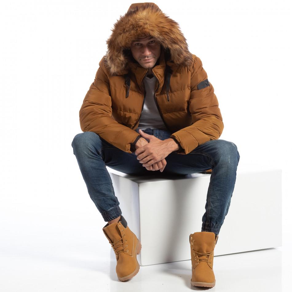 6a16118afba Ανδρικό μουσταρδί χειμωνιάτικο μπουφάν με επένδυση γούνα