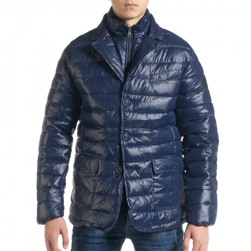 Ανδρικό μπλέ χειμωνιάτικο μπουφάν τύπου blazer it091219-16