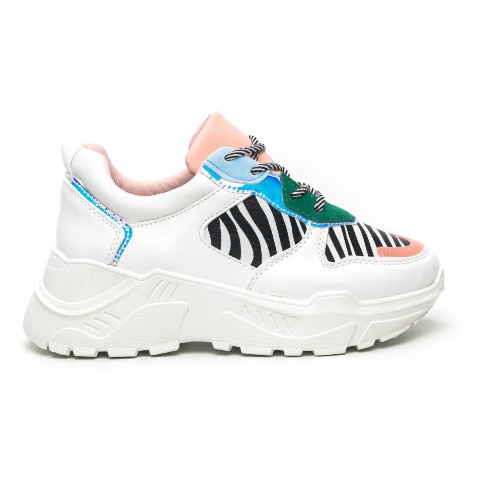 Γυναικεία πολύχρωμα Chunky αθλητικά παπούτσια με ζέβρα μοτίβο it281019-4