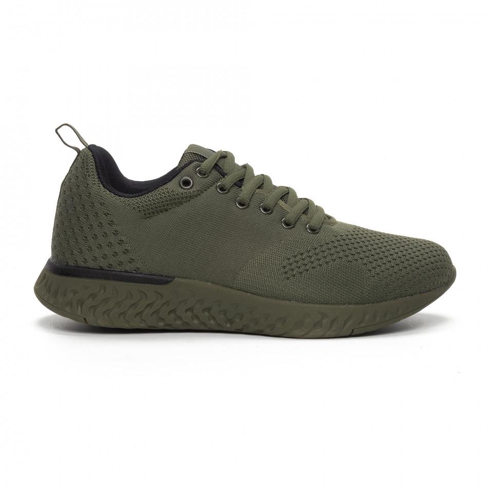 Ανδρικά πράσινα πλεκτά αθλητικά παπούτσια  it240419-12