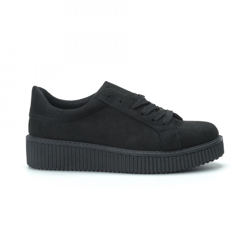 Γυναικεία μαύρα sneakers από οικολογικό σουέτ it250119-57