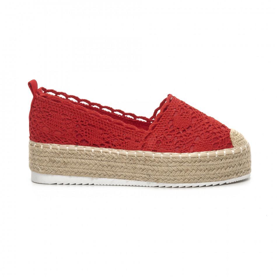 Γυναικείες κόκκινες πλεκτές εσπαντρίγιες Rustic style it240419-38