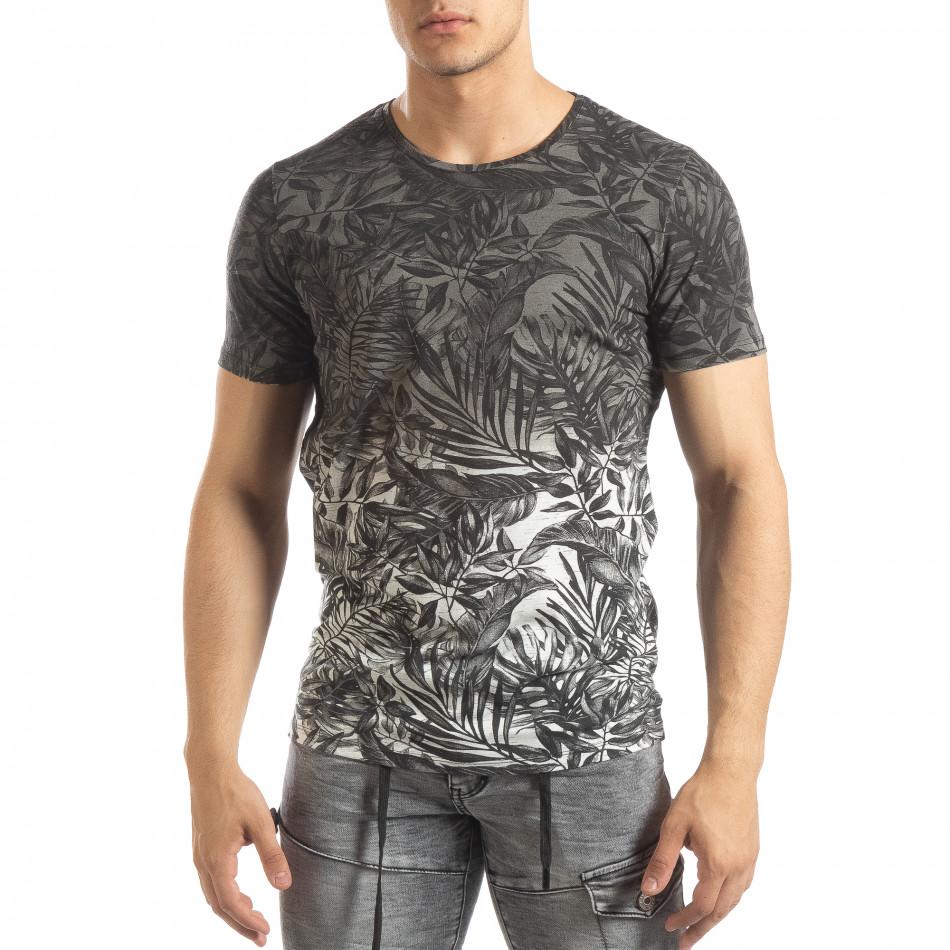 Ανδρική γκρι κοντομάνικη μπλούζα Leaves μοτίβο it150419-108
