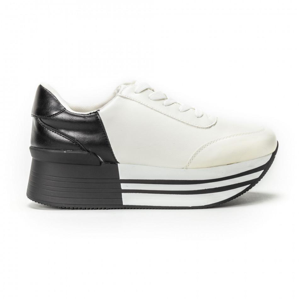 Γυναικεία ασπρόμαυρα sneakers με πλατφόρμα it150818-72