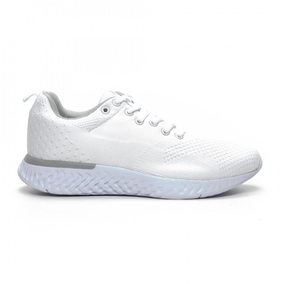 Ανδρικά λευκά πλεκτά αθλητικά παπούτσια  it240419-13