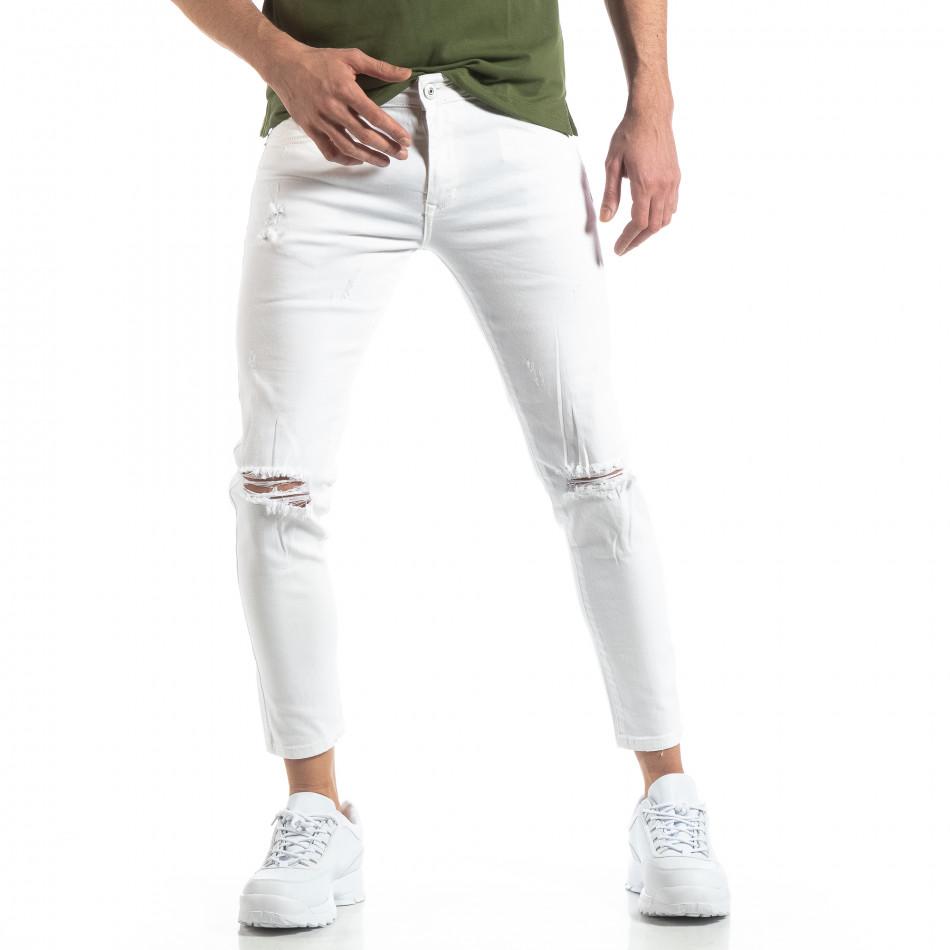 Ανδρικό λευκό τζιν με σκισίματα it210319-6
