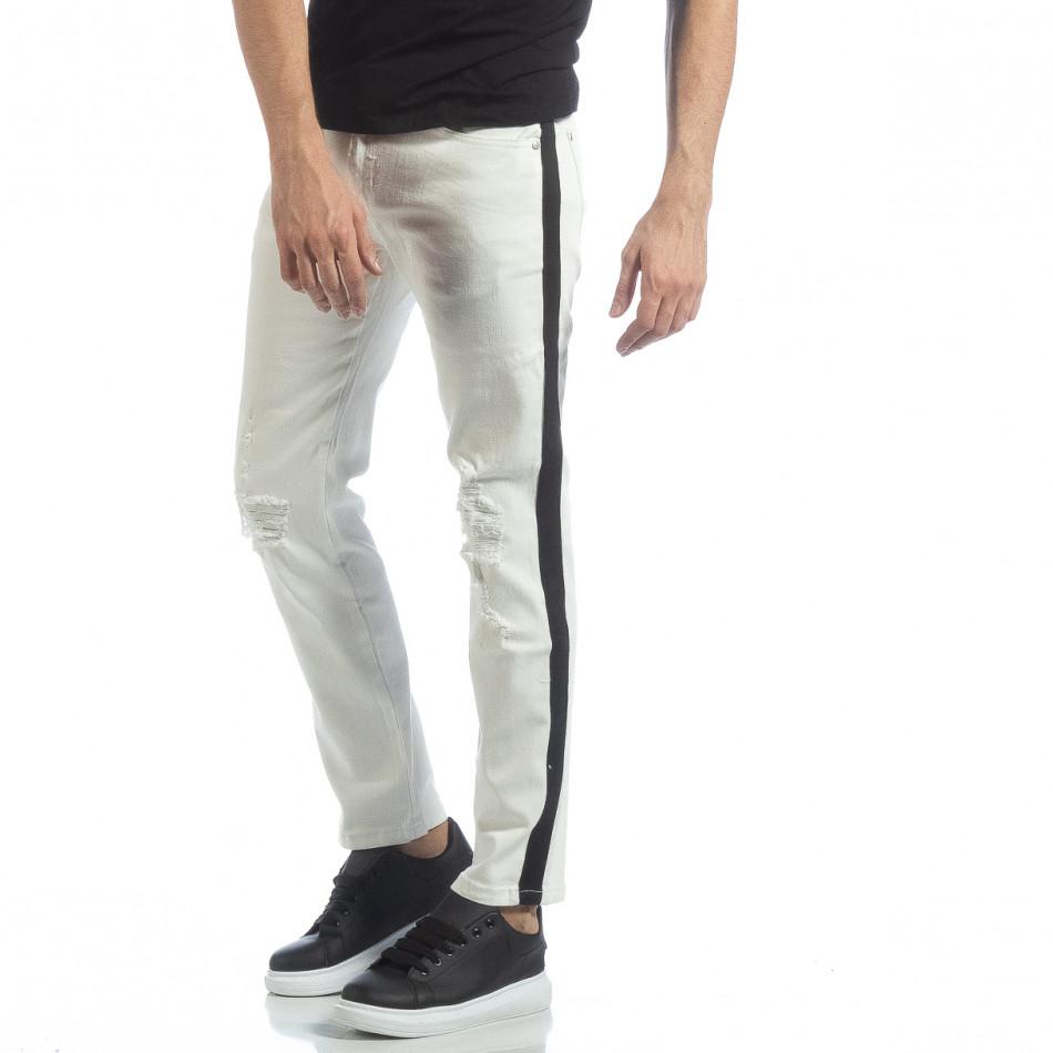 Ανδρικό λευκό τζιν με μαύρες ρίγες it040219-26