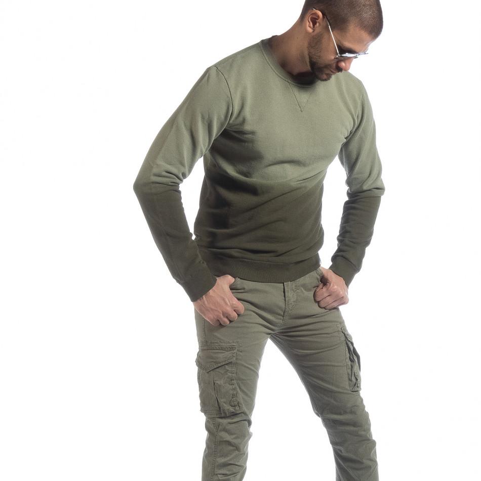 Ανδρική πράσινη μπλούζα με επένδυση it040219-91