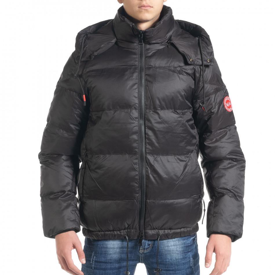 Ανδρικό μαύρο χειμωνιάτικο μπουφάν Marshall Angel it091219-11