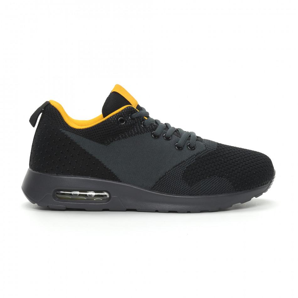 Ανδρικά μαύρα αθλητικά παπούτσια Kiss με αερόσολα it150319-9