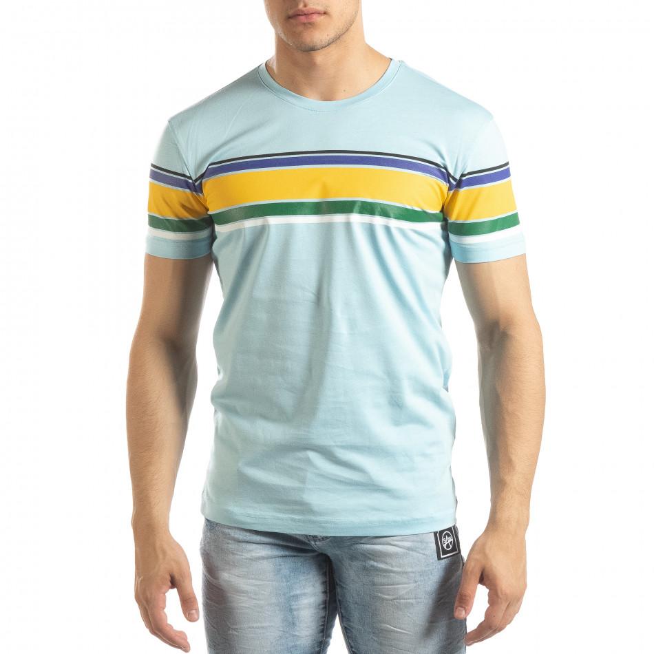 Ανδρική γαλάζια κοντομάνικη μπλούζα με πολύχρωμες ρίγες it150419-54