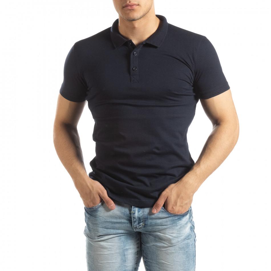 Ανδρική σκούρα μπλε Basic Polo shirt it150419-61