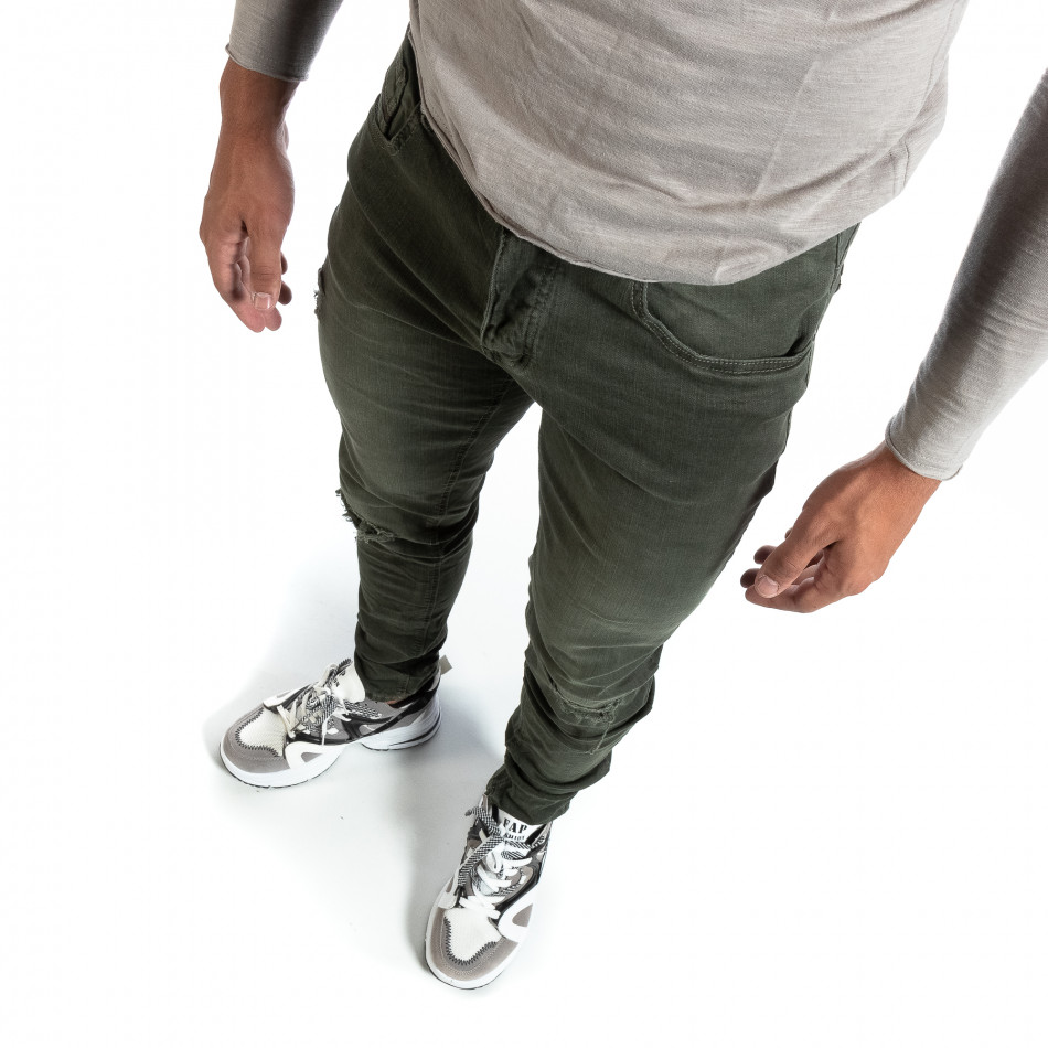 Slim fit ανδρικό πράσινο τζιν με σκισίματα it170819-39