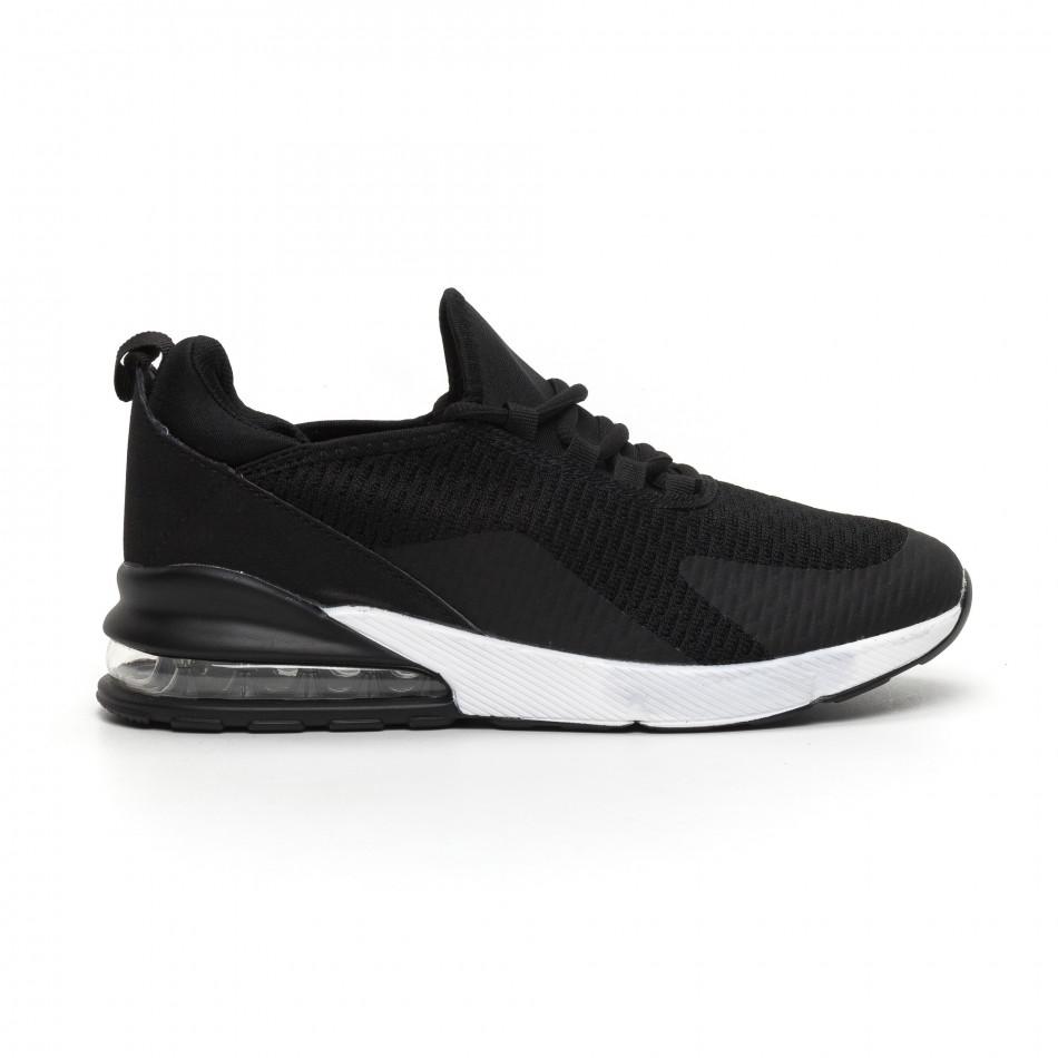 Ανδρικά μαύρα πάνινα αθλητικά παπούτσια με αερόσολα it260919-31