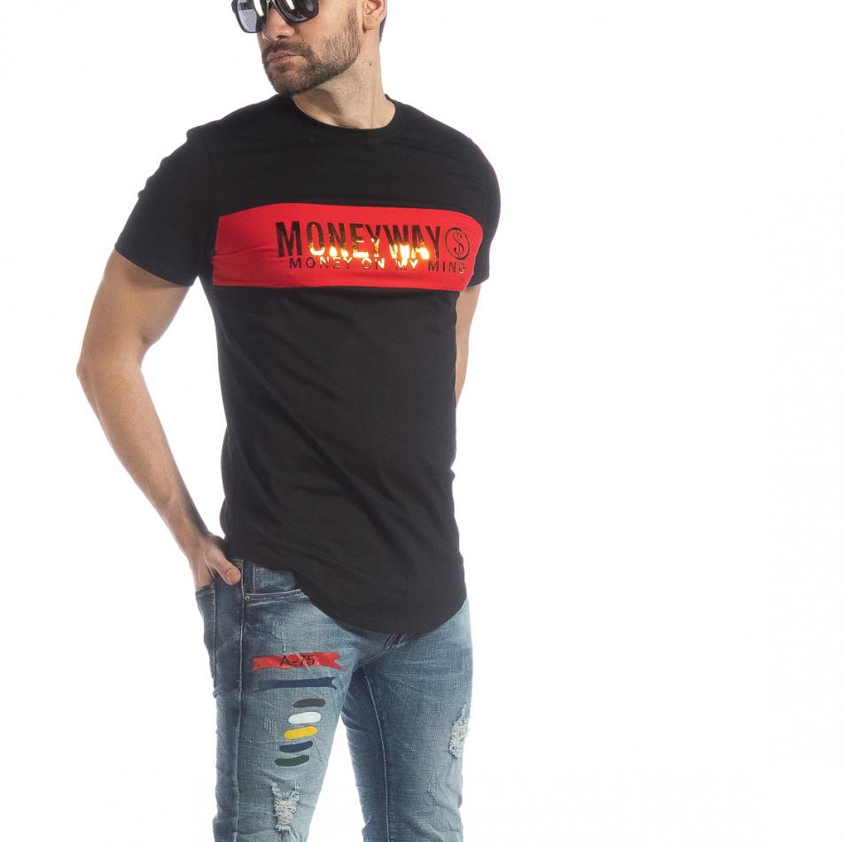 Ανδρική μαύρη κοντομάνικη μπλούζα Money Way it040219-117