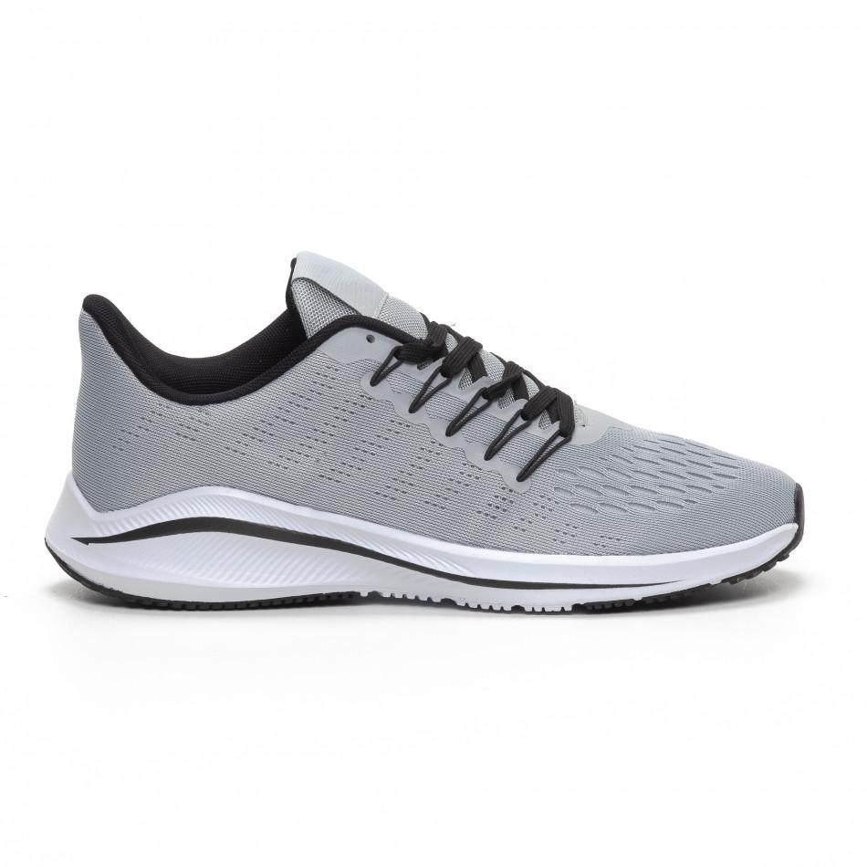 Ανδρικά γκρι αθλητικά παπούτσια ελαφρύ μοντέλο it240419-22
