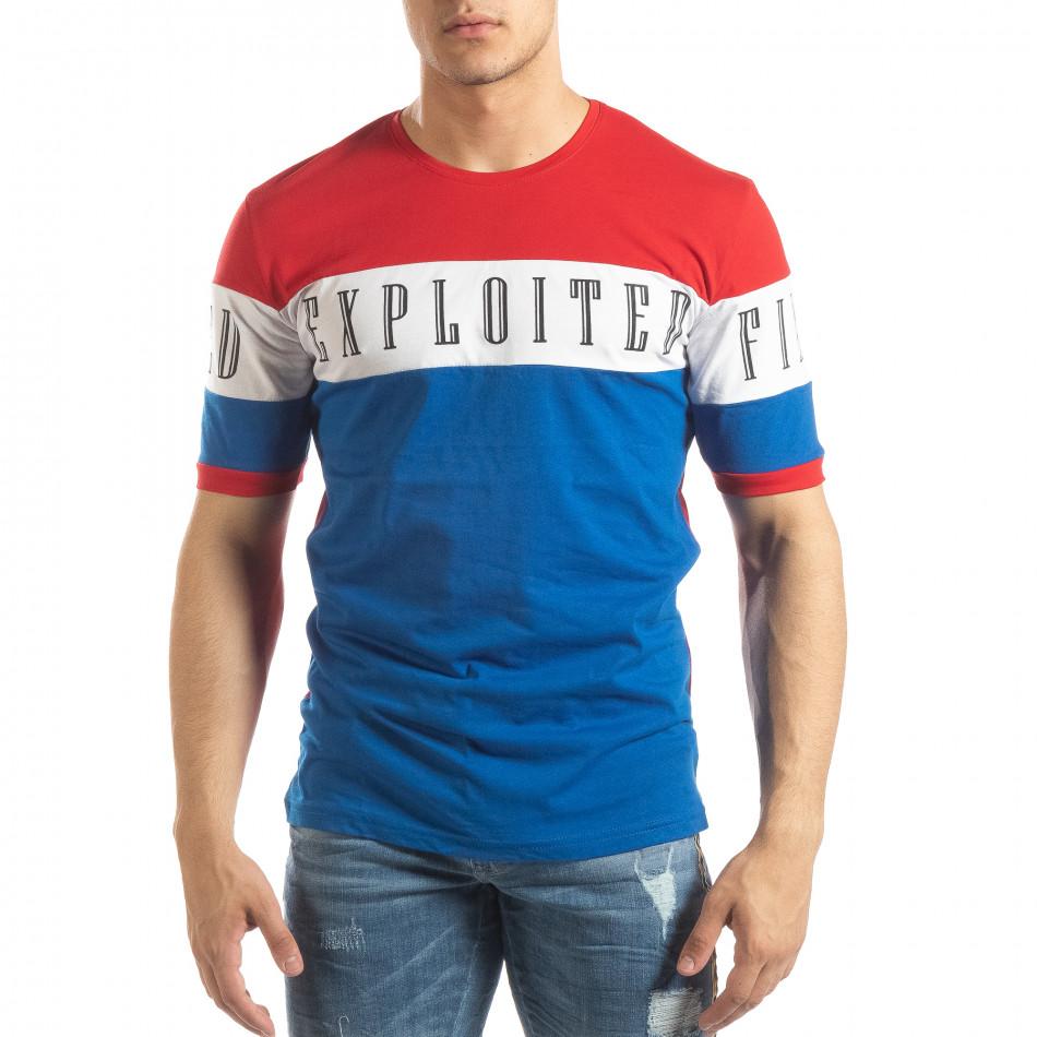 Ανδρική κοντομάνικη μπλούζα σε κόκκινο και μπλε it150419-73
