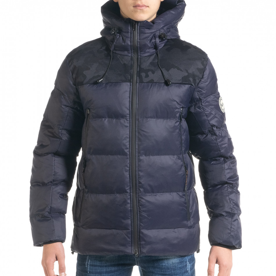 Ανδρικό μπλέ χειμωνιάτικο μπουφάν με κουκούλα it091219-12
