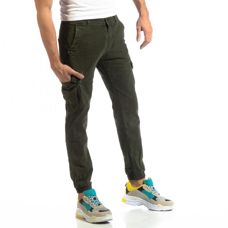 Ανδρικό πράσινο παντελόνι cargo με λάστιχο στις άκρες it261018-22