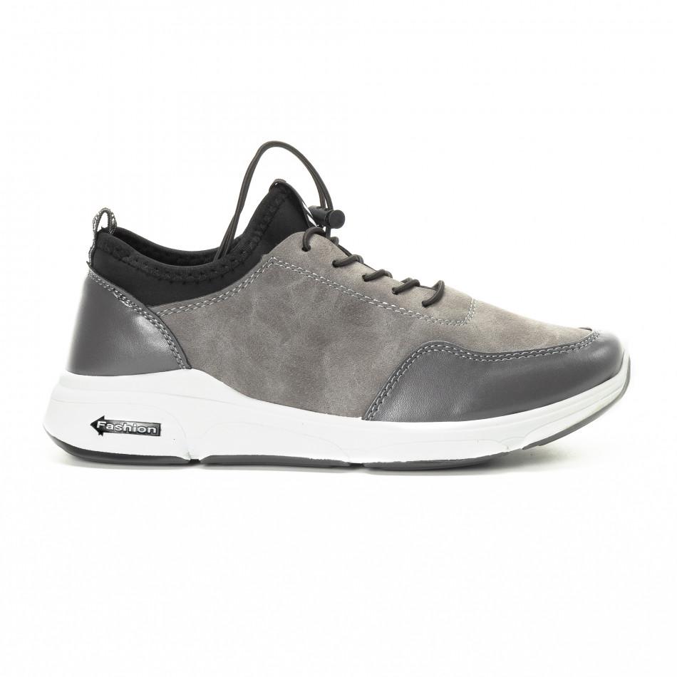 Ανδρικά γκρι αθλητικά παπούτσια από συνδυασμό υφασμάτων it221018-35