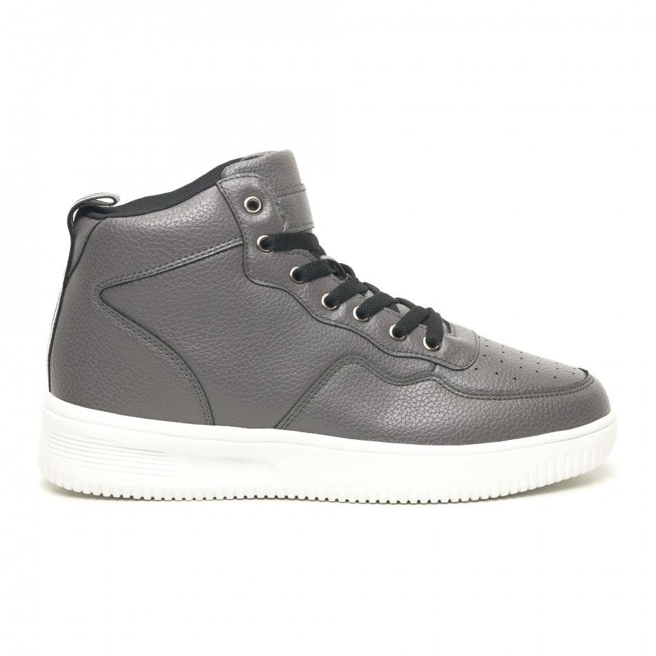 Ανδρικά γκρί ψηλά sneakers με Shagreen design it251019-22