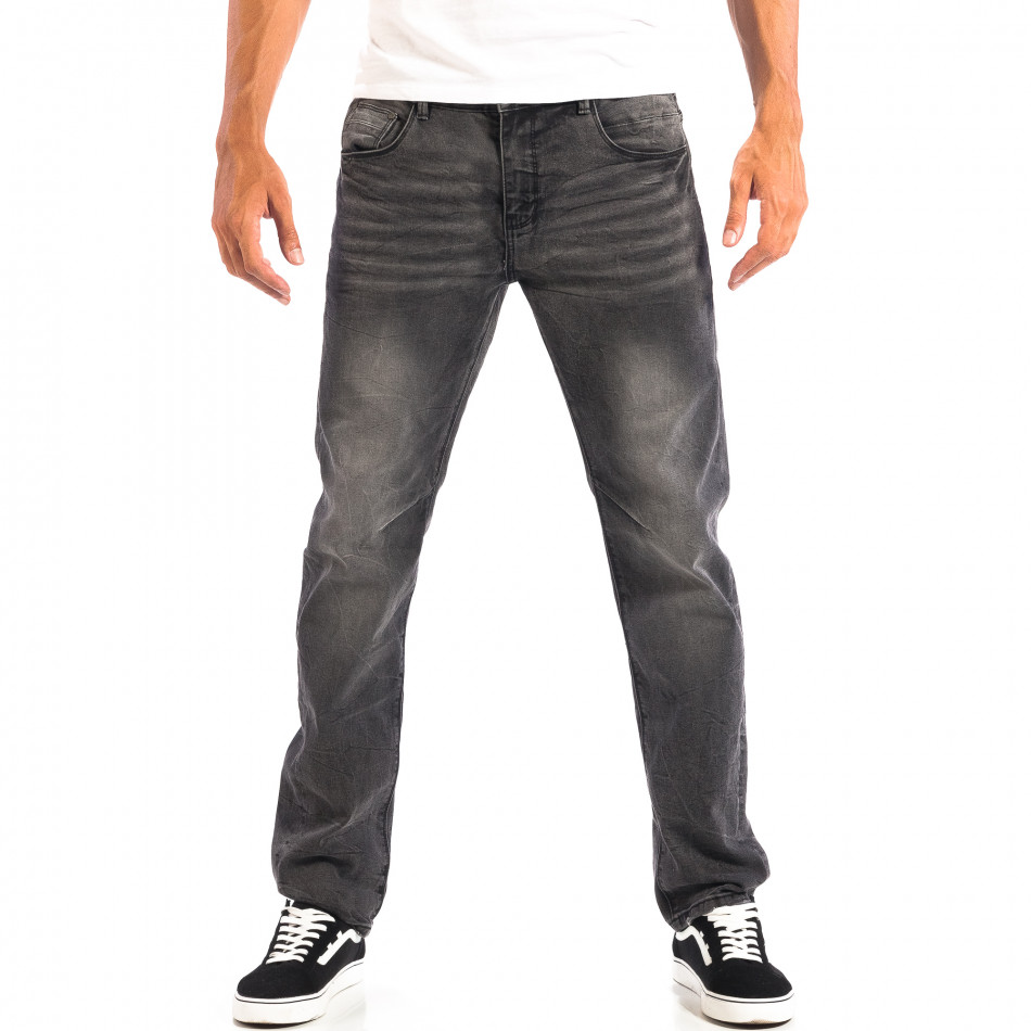 Ανδρικό μαύρο τζιν Regular fit με ξεθωριασμένο εφέ House lp060818-55