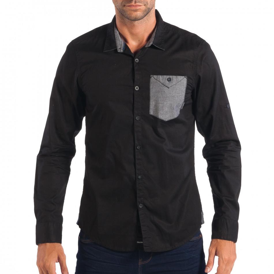 Ανδρικό μαύρο πουκάμισο CROPP lp070818-119