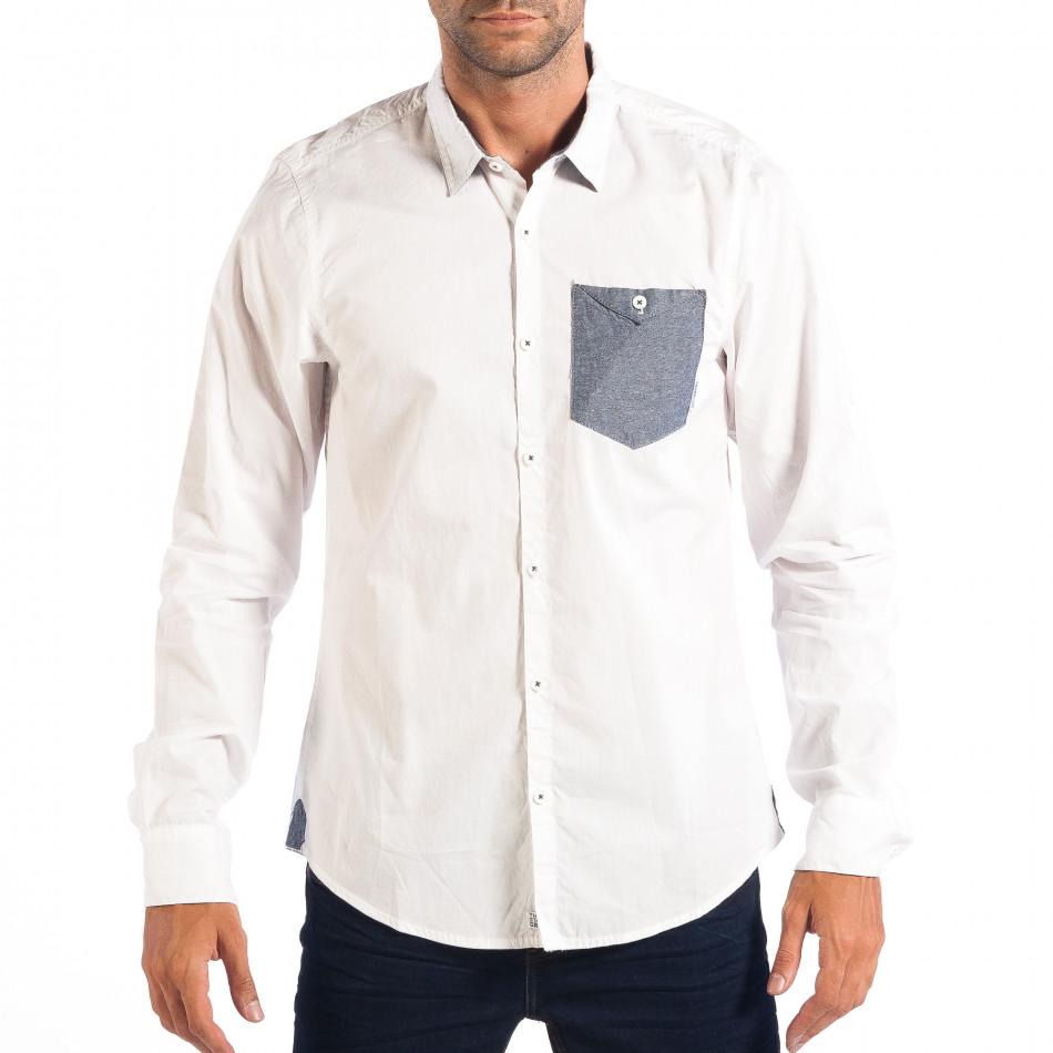 Ανδρικό λευκό πουκάμισο CROPP lp070818-104