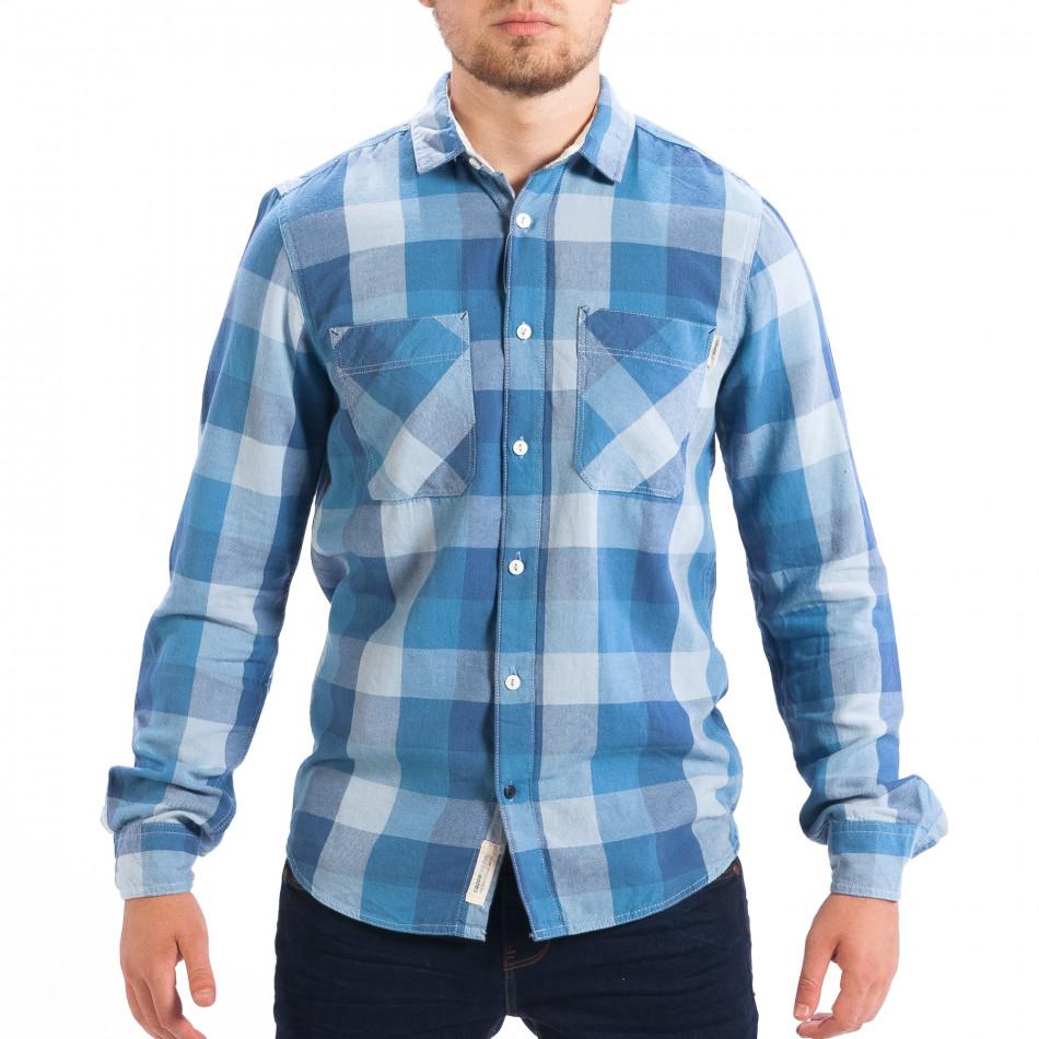Ανδρικό γαλάζιο πουκάμισο CROPP lp070818-133