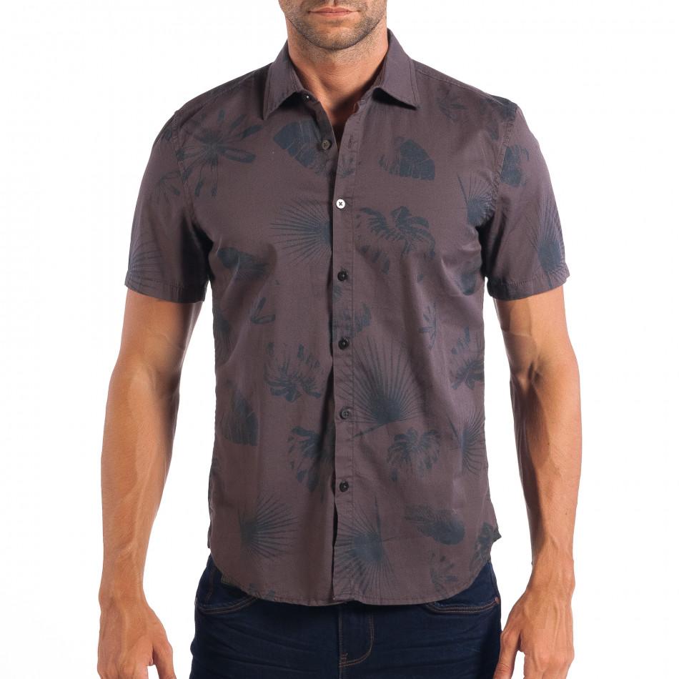 Ανδρικό γκρι κοντομάνικο Slim fit πουκάμισο με πριντ RESERVED lp070818-123