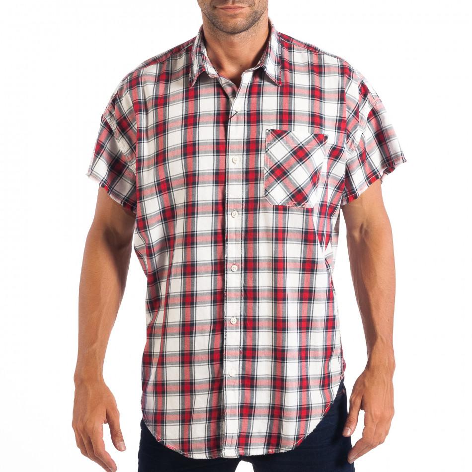 Ανδρικό Regular κοντομάνικο πουκάμισο RESERVED κόκκινο καρέ lp070818-127