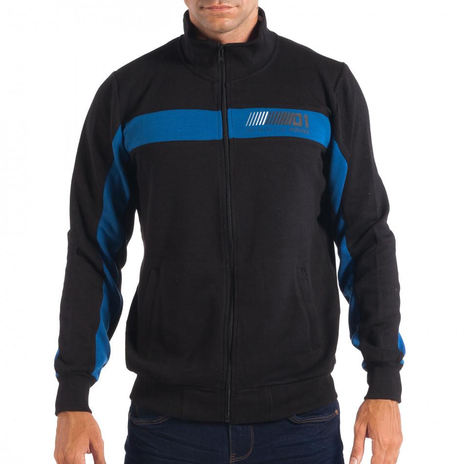 Ανδρικό μαύρο φούτερ με μπλε ρίγα House lp080818-115