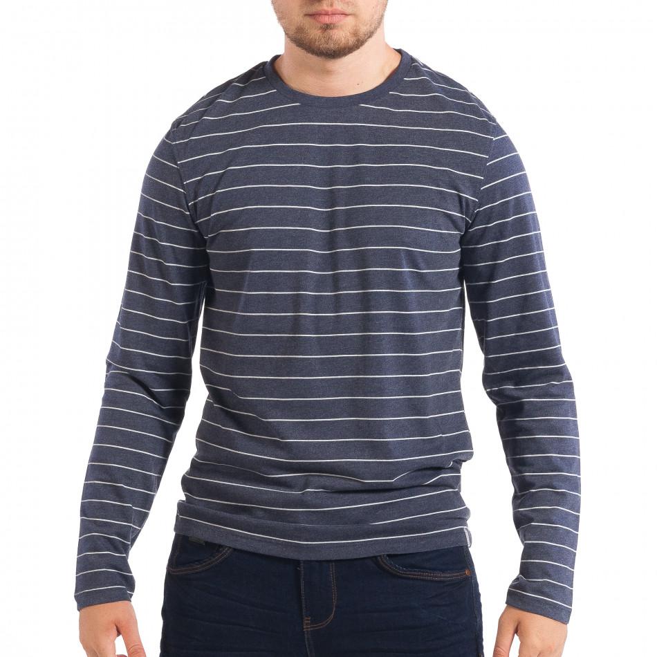 Ανδρική μπλε ριγέ μπλούζα RESERVED lp070818-44