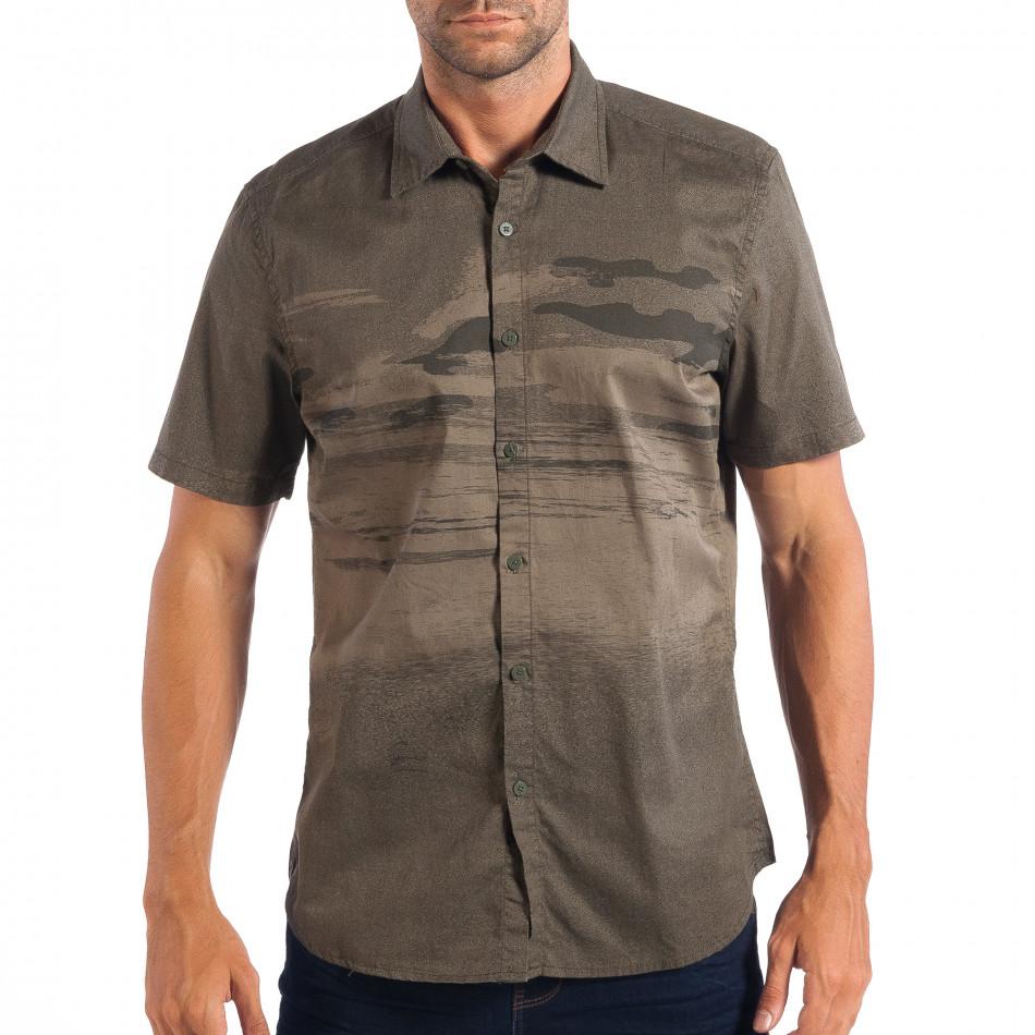 Ανδρικό πράσινο κοντομάνικο πουκάμισο RESERVED lp070818-122