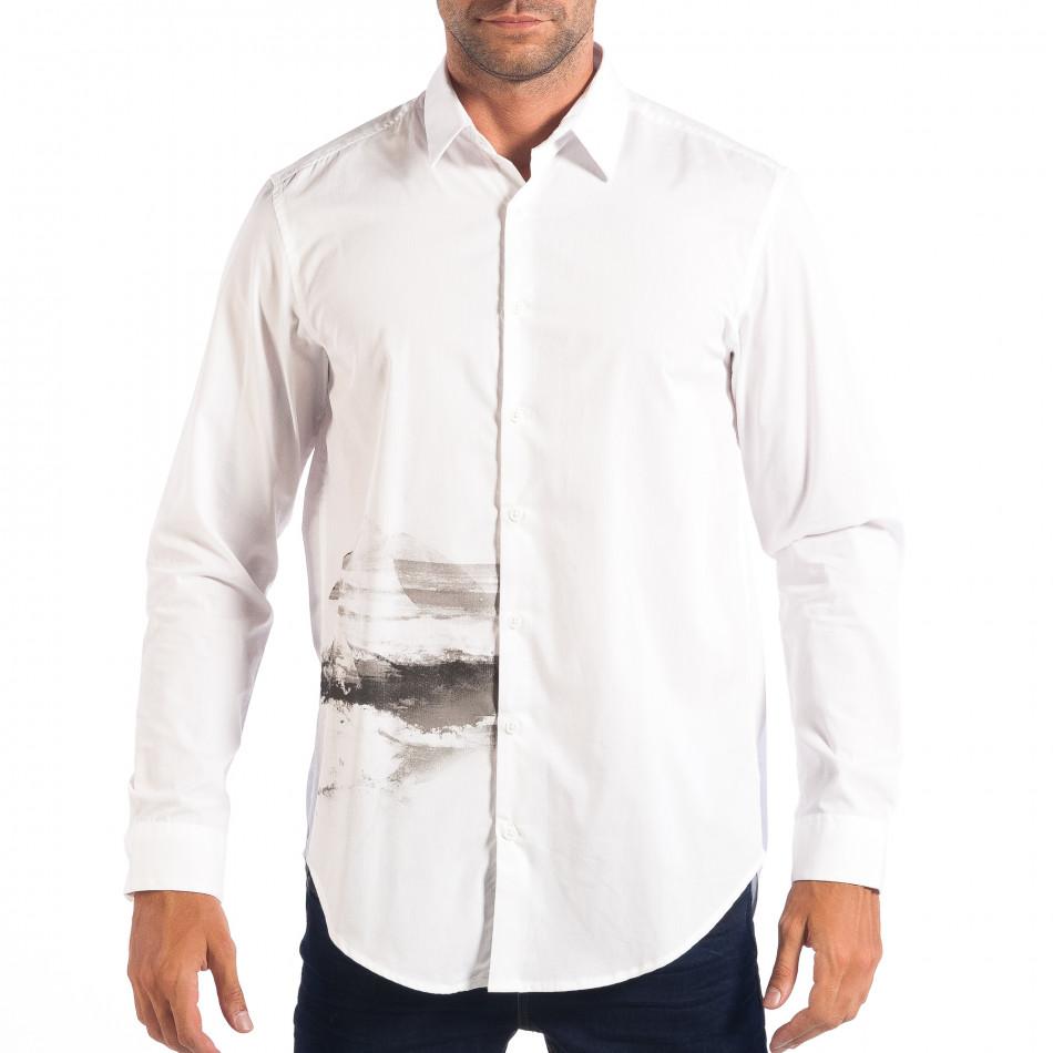 Ανδρικό λευκό πουκάμισο Regular fit με πριντ lp070818-121