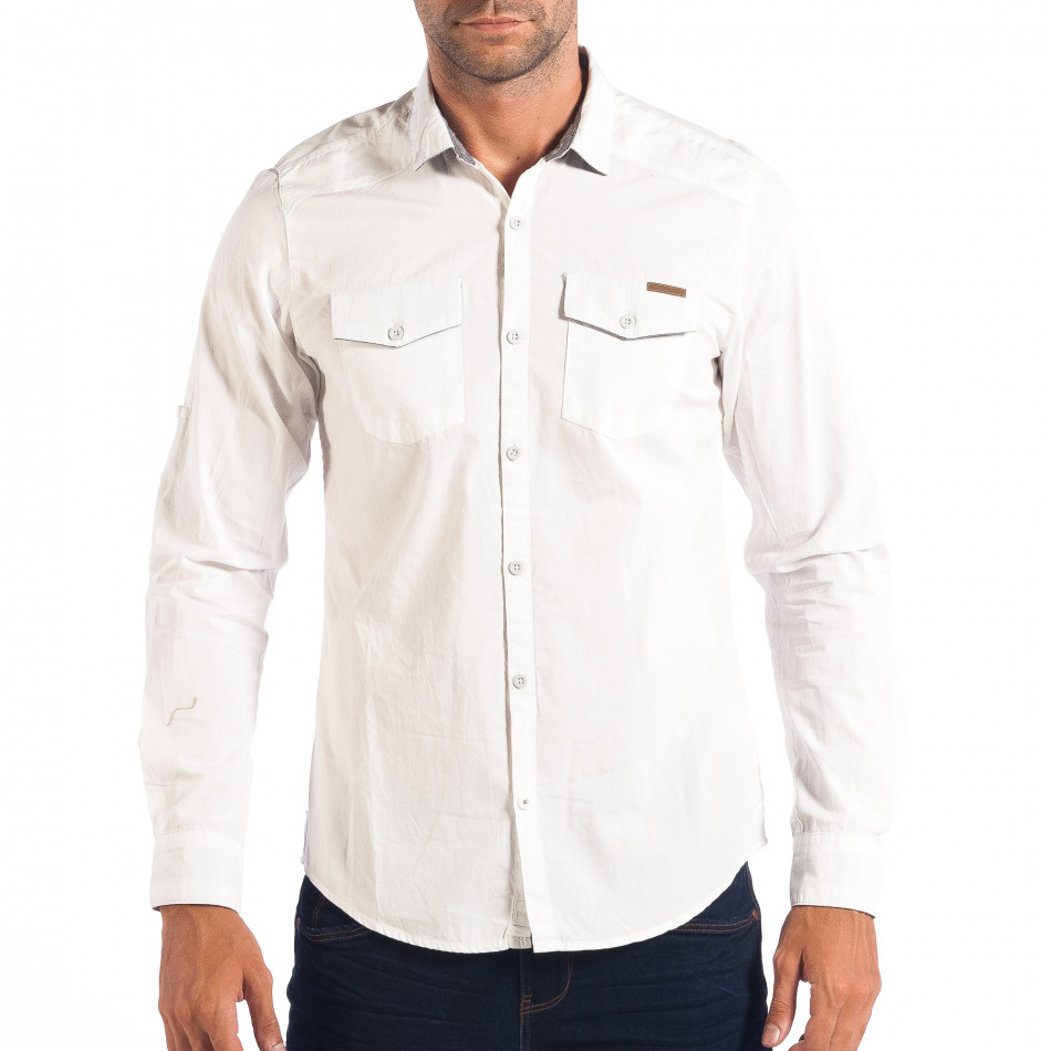 Ανδρικό λευκό πουκάμισο Slim fit CROPP lp070818-110