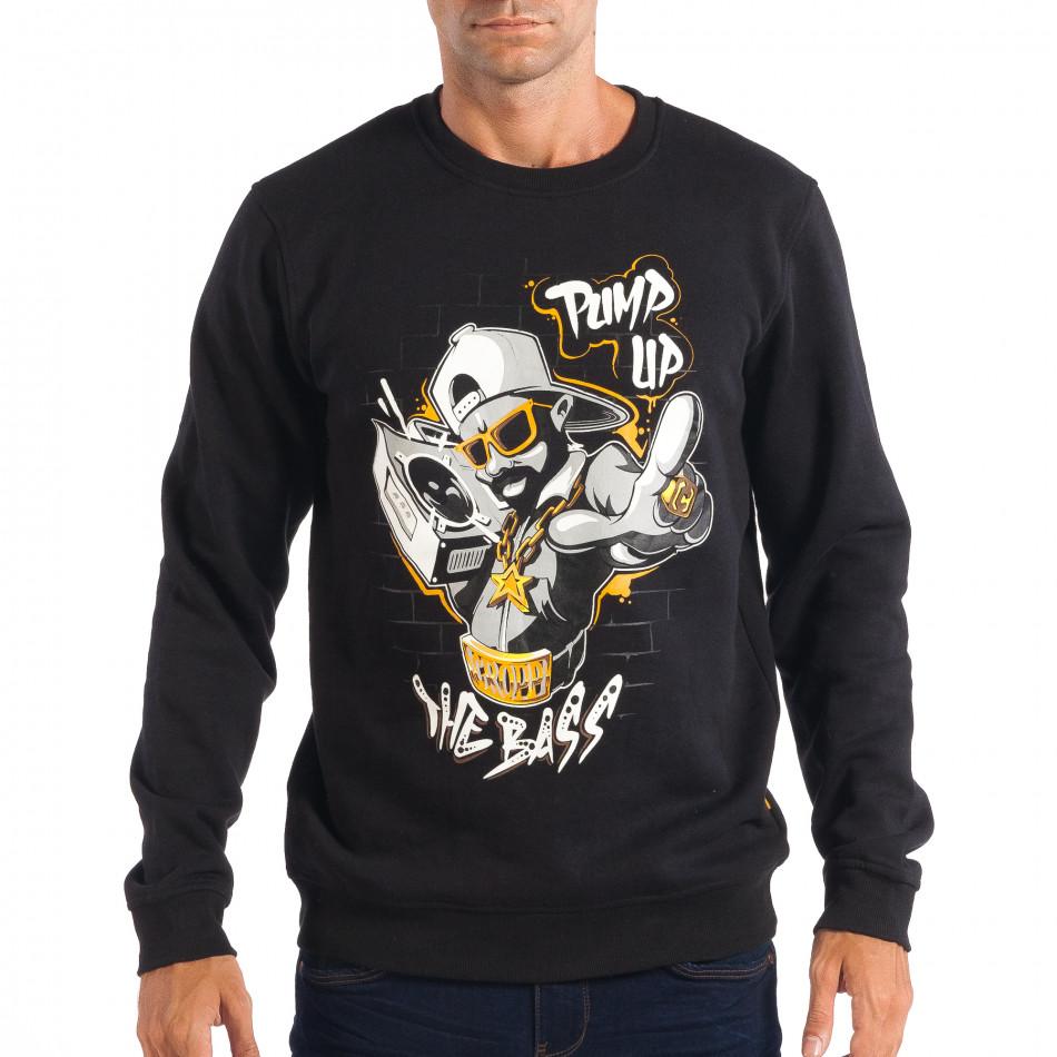Ανδρική μαύρη μπλούζα με Hip-Hop μοτίβο CROPP lp080818-46
