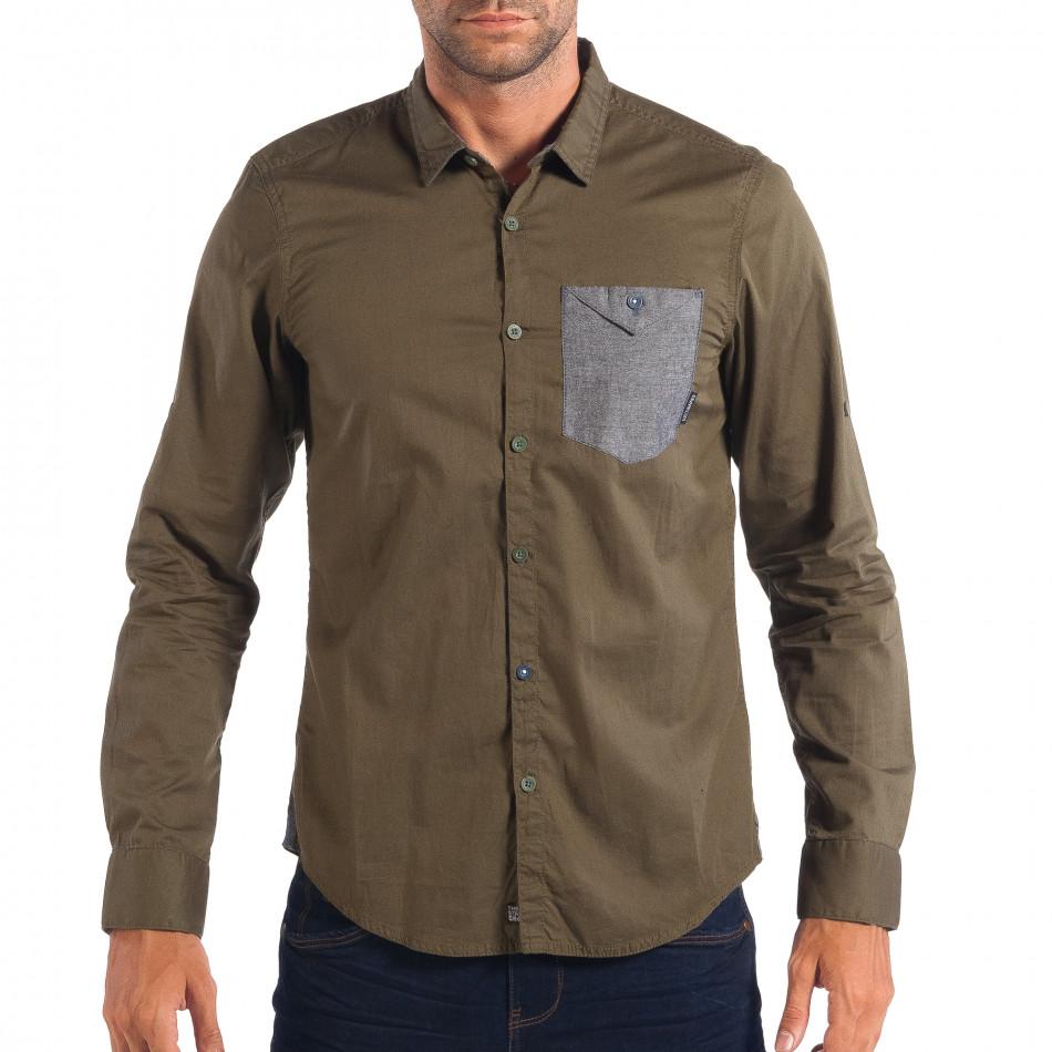 Ανδρικό πράσινο πουκάμισο CROPP lp070818-105