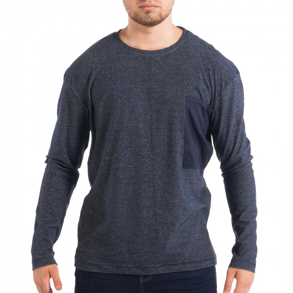 Ανδρική μπλε μελάνζ μπλούζα με τσέπη RESERVED lp070818-49