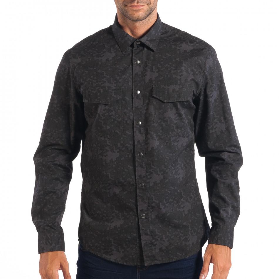 Ανδρικό γκρι πουκάμισο παραλλαγής RESERVED lp070818-117