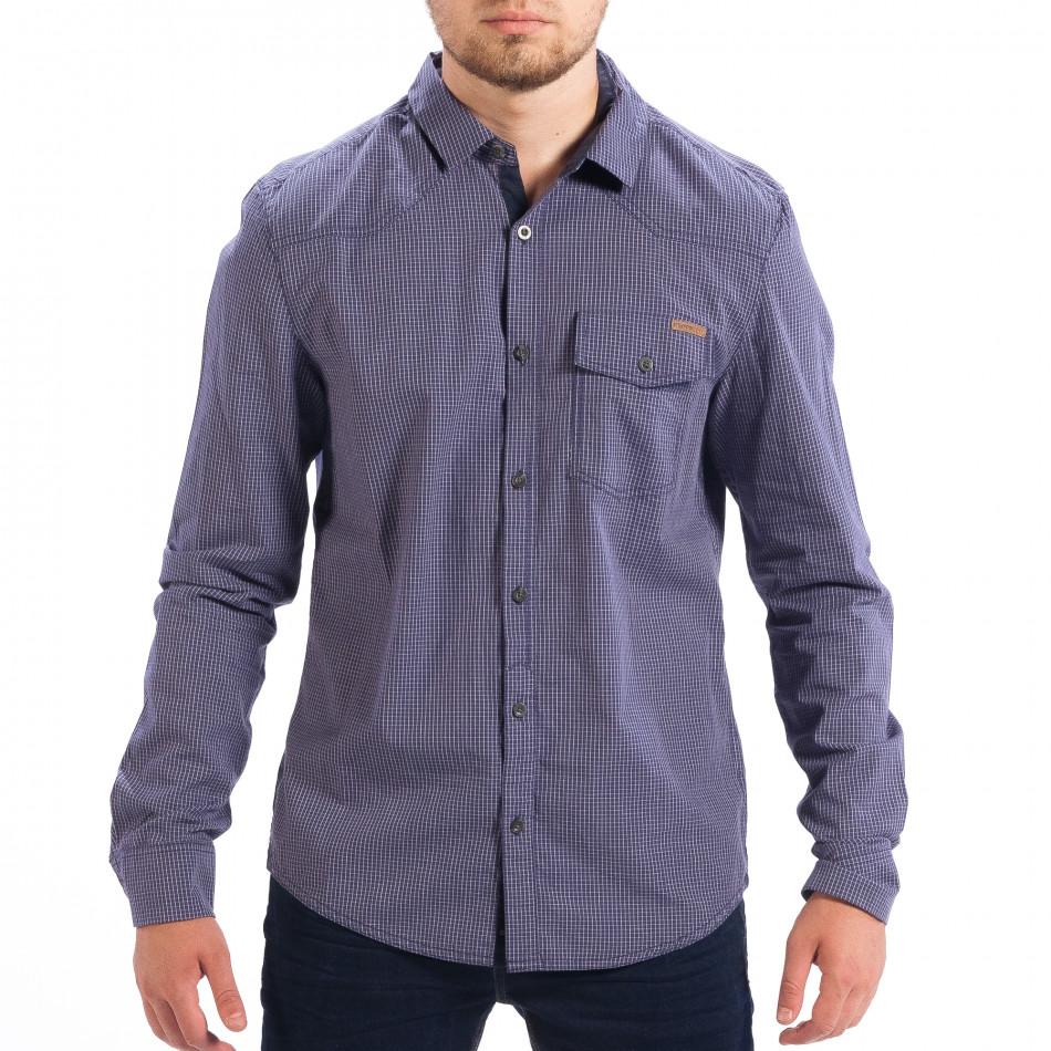 Ανδρικό γαλάζιο καρέ πουκάμισο Slim fit CROPP lp070818-132