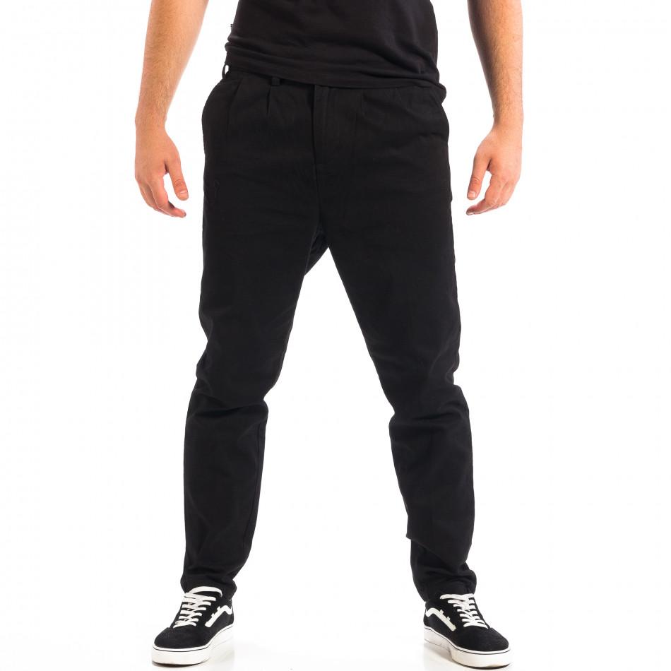 Ανδρικό μαύρο Cropped chino παντελόνι RESERVED lp060818-121