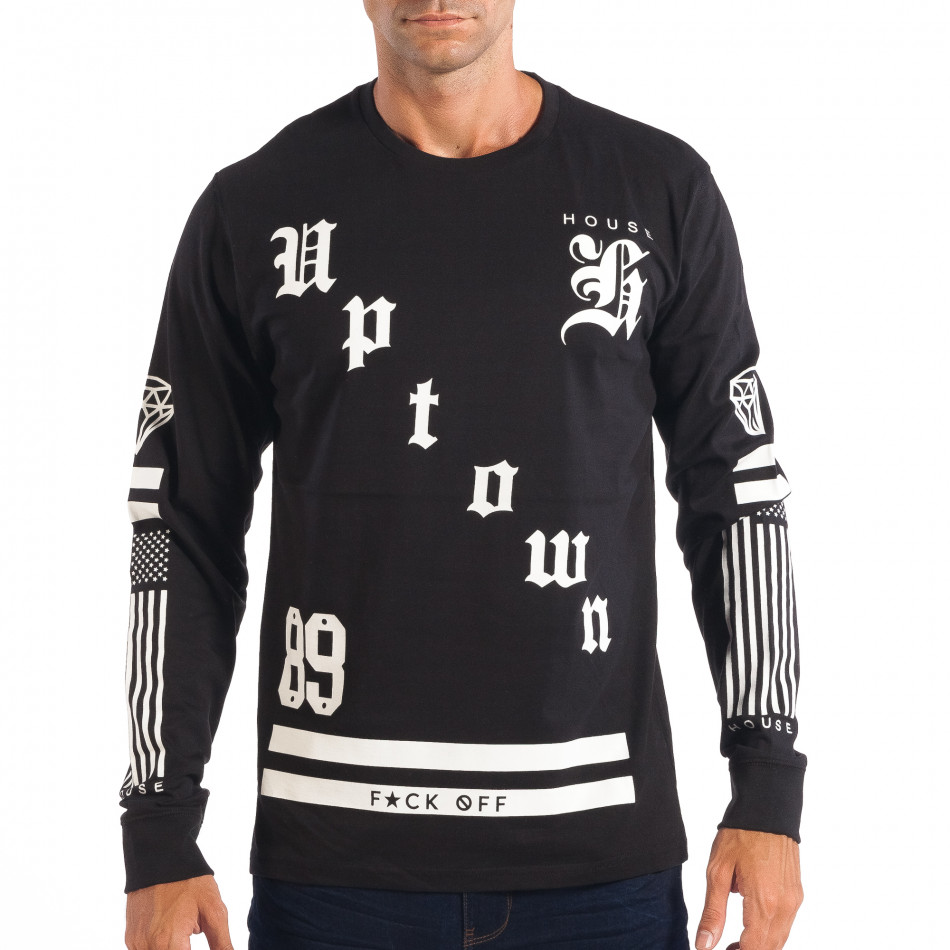 Ανδρική μαύρη μπλούζα House Uptown lp070818-16